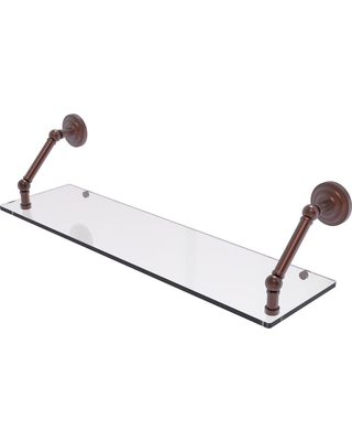 Allied Brass Prestige Que New Collection 30 in. Floating Glass Shelf in Antique Copper