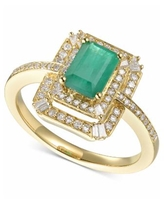 Sapphire (1 ct. t.w.) & Diamond (1/3 ct. t.w.) Ring in 14k White Gold (Also Available in Ruby and Emerald) - Emerald/Yellow Gold