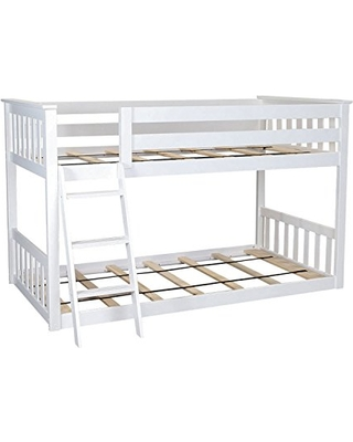 Spectacular Deals On Max Lily Twin Over Twin Low Bunk Bed White
