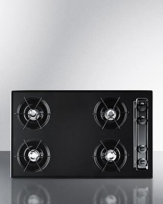 """TNL05P 30"""" Natural Gas Cooktop with Four 9000 BTU Open Burners Porcelain Enameled Steel Grates Recessed Top Porcelain Cooking Surface Battery"""