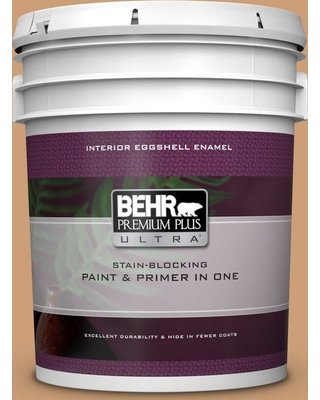 BEHR ULTRA 5 gal. #ICC-62 Pumpkin Butter Eggshell Enamel Interior Paint and Primer in One