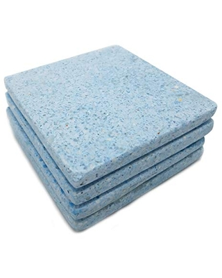 Light Blue and White Chips Terrazzo Stone Square Coaster (Set of 4) 53319