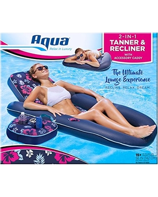 Floats & Rafts Realistic Aqua Campania Ultimate 2 In 1 Recliner Tanner Lounge With Adjustable Backrest
