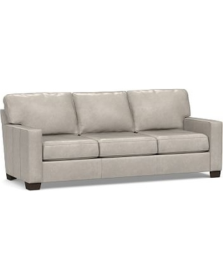 """Buchanan Square Arm Leather Grand Sofa 89.5"""", Polyester Wrapped Cushions, Statesville Pebble"""