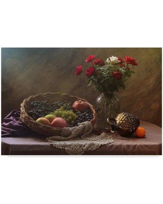 """Trademark Art 'Fruit and Roses' Photographic Print on Wrapped Canvas 1X06492-CGG Size: 12"""" H x 19"""" W x 2"""" D"""