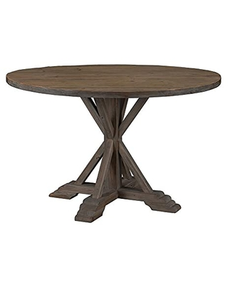 Benjara 60-Inch Round Top Wood Dining Table with Pedestal Base, Brown