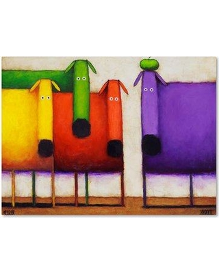 "Trademark Fine Art 'Rainbow Dogs' Print on Wrapped Canvas ALI16667-C Size: 35"" H x 47"" W"