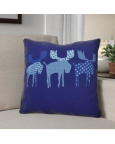 """The Holiday Aisle Christmas Decorative Holiday Animal Print Throw Pillow THLA6902 Size: 18"""" H x 18"""" W, Color: Blue"""