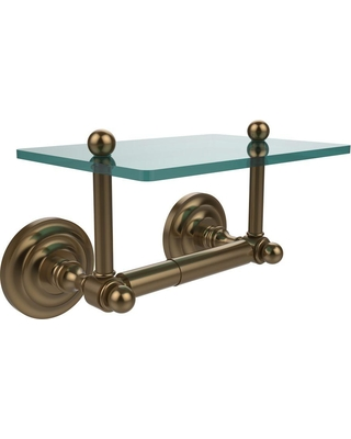 Allied Brass Que New Collection Double Post Toilet Paper Holder with Glass Shelf in Brushed Bronze