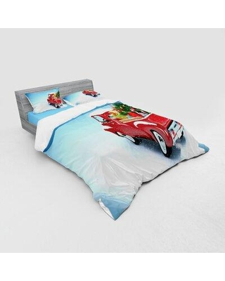 East Urban HomeClassical Pickup Truck w/ Tree Gifts & Ornaments Snowy Winter Day Image Duvet Cover Set in Red | Wayfair