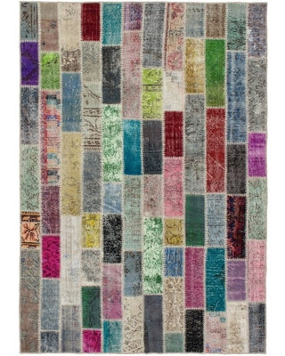 Hand-knotted Color Transition Patchwork Multi Color Wool Rug - 5'6 x 7'10