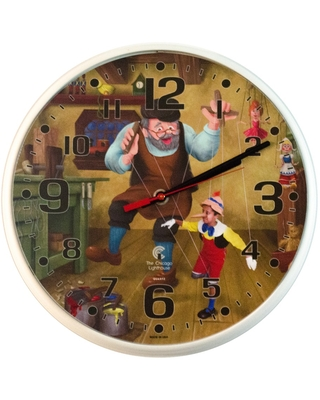 "2.75"" x 1.5"" Pinocchio Children's Decorative Wall Clock White Frame - By Chicago Lighthouse"