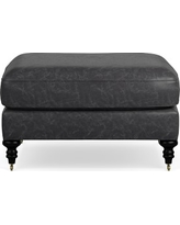 Bedford Ottoman, Italian Distressed Leather, Wolf