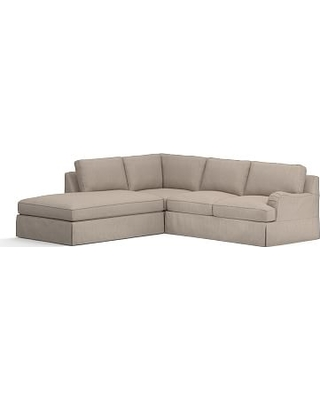 PB English Slipcovered Right 3-Piece Bumper Sectional, Down Blend Wrapped Cushions, Sunbrella(R) Performance Sahara Weave Mushroom
