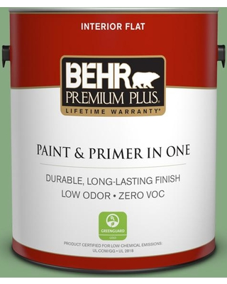 BEHR Premium Plus 1 gal. #M400-5 Baby Spinach Flat Low Odor Interior Paint and Primer in One