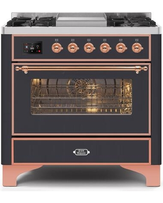 """UM09FDNS3MGP 36"""" Majestic II Series Dual Fuel Natural Gas Range with 6 Burners and Griddle 3.5 cu. ft. Oven Capacity TFT Oven Control Display"""