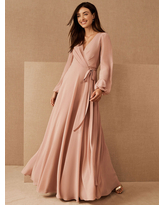 Milanoo Cameo Brown Evening Dress A-Line V-Neck Long Sleeves Matte Satin Floor-Length Pleated Social Pageant Dresses