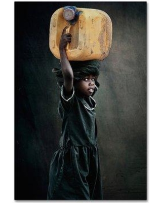 """Trademark Fine Art 'Carry Water' Photographic Print on Wrapped Canvas 1X01791-C Size: 19"""" H x 12"""" W"""