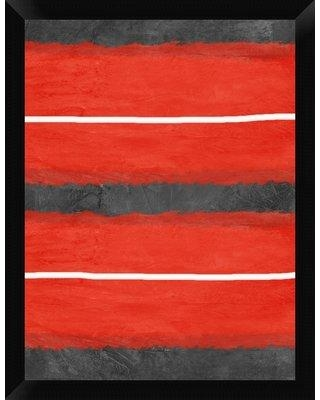 """Naxart 'Gray and Red Abstract 3' Framed Graphic Art Print on Canvas GCF-392568 Size: 26"""" H x 20"""" W x 1.5"""" D"""