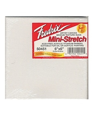 Fredrix Red Label Stretched Cotton Canvas 6 in. x 6 in. each [Pack of 4],Size: med