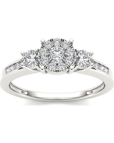 1/5 Carat T.W. Diamond Three Stone Cluster Engagement Ring in 10k White Gold