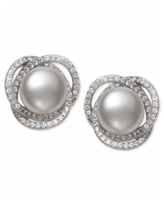 Cultured Freshwater Pearl (9mm) & Cubic Zirconia Spiral Stud Earrings in Sterling Silver - Silver