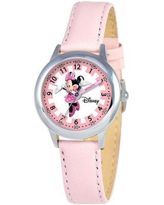 Disney Minnie Mouse Kids Time Teacher Pink Leather Strap Watch, One Size