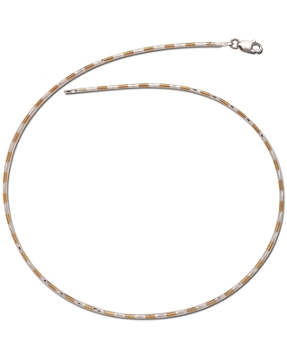 Curata Italian Sterling Silver Two-tone 2mm Round Omega Chain Necklace (16 or 18 inches) (16 Inch)
