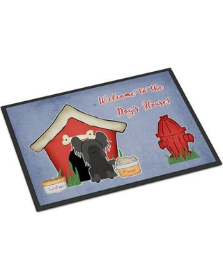 """Caroline's Treasures Dog House Chinese Crested Door mat BB286 Mat Size: Rectangle 1'6"""" x 2'3"""" Color: Black"""