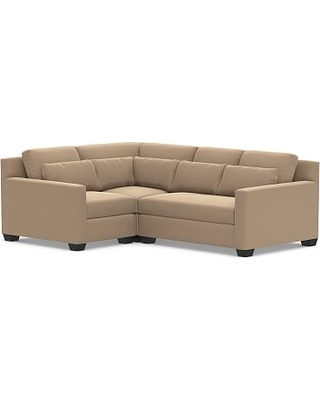 York Deep Seat Square Arm Upholstered Right Arm 3-Piece Corner Sectional, Down Blend Wrapped Cushions, Performance Plush Velvet Camel