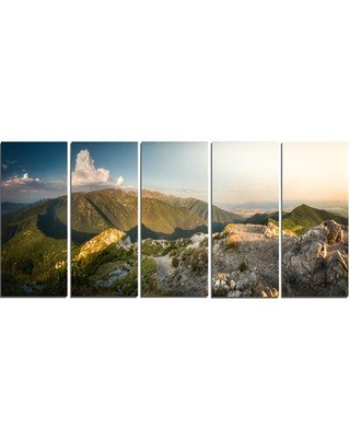Design Art Rocky Green Mountains Panorama 5 Piece Photographic Print on Wrapped Canvas Set PT11093-401