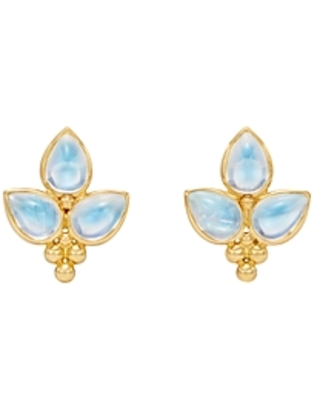 Temple St. Clair 18K Yellow Gold Foglia Trio Blue Moonstone Earrings