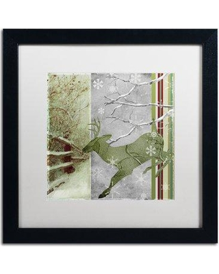 """Trademark Art 'Country Xmas Deer' Framed Graphic Art ALI4388-B1 Mat Color: White Size: 16"""" H x 16"""" W x 0.5"""" D"""