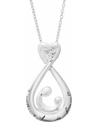 Timeless Sterling Silver Motherly Love Pendant Necklace, Women's, White