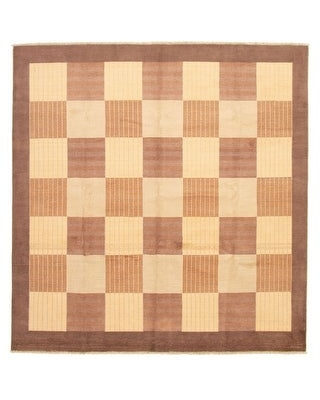 ECARPETGALLERY Hand-knotted Peshawar Ziegler Brown, Ivory Wool Rug - 8'1 x 8'1 (Brown/ Ivory - 8'1 x 8'1)