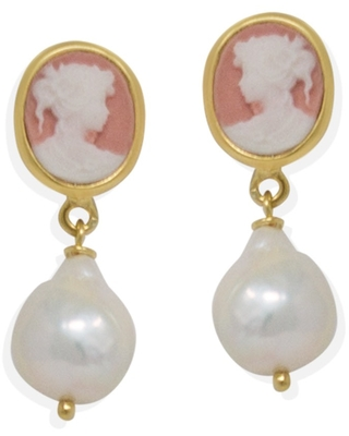 Vintouch Italy - Pink Mini Cameo & Pearls Stud Earrings