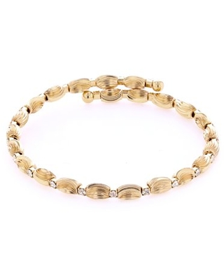 X & O 14KT Gold Plated Alternating Style with Crystal and DC Spiral Oval Beads Wire Bangle ***