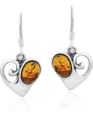 Handmade Vintage Style Sterling Silver Heart Swirl with Amber Accent Dangle Earrings (Thailand) (Amber - Yellow - White)