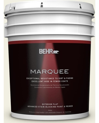BEHR MARQUEE 5 gal. #GR-W2 Atrium White Flat Exterior Paint and Primer in One
