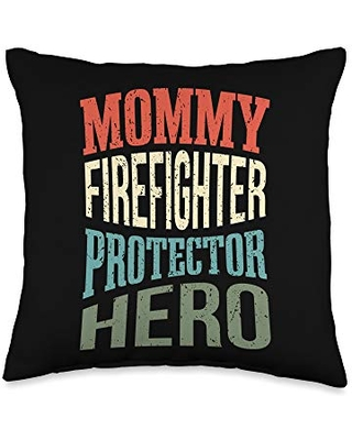 Mama Firefighters Job Rescuer Firefighters Mommy Firefighter Protector Hero Mom Profession Superhero Throw Pillow, 16x16, Multicolor