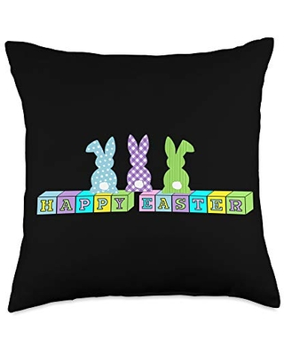 Easter Bunny Basket Gifts Easter Bunny Blocks Cottontail Throw Pillow, 18x18, Multicolor