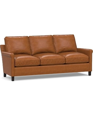 Tyler Roll Arm Leather Sofa Without Nailheads Down Blend Wred Cushions Signature Maple