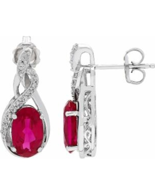 Sterling Silver Lab-Created Ruby & Lab-Created White Sapphire Swirl Earrings, Women's, Red
