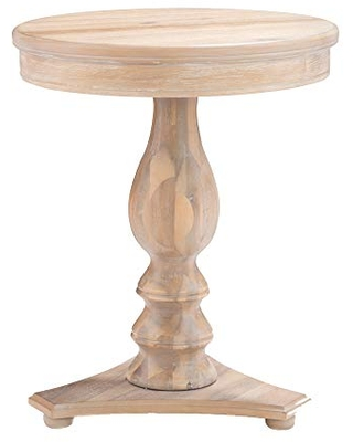 Benjara 24 Inches Round Side Table with Pedestal Base, Brown