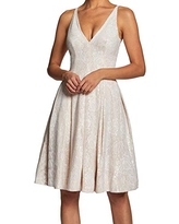 Dress the Population Women's Collette Sleeveless Fit and Flare Party Dress, White/Nude, L
