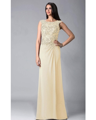 Feriani Couture - 18402 Embellished Cap Sleeve Column Gown