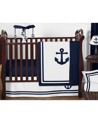 The Best Sales For Sweet Jojo Designs Navy Blue Anchors Away Collection 11 Piece Bumperless Crib Bedding Set