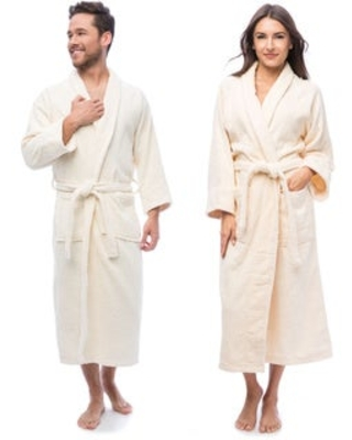 Superior Luxurious 100-percent Combed Cotton Unisex Terry Bath Robe (L - Ivory)