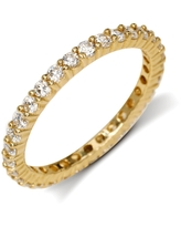 Curata Solid 14k Yellow Gold Cubic Zirconia Stackable Eternity Wedding Band Ring (sizes 5-9) (5)