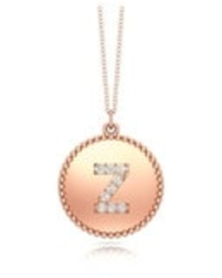 """Noray Designs 14K Gold Diamond (0.07Ct, G-H Color, SI2-I1 Clarity) A-Z Alphabet Initial Pendant, 18"""" Gold Chain (Z - Rose)"""